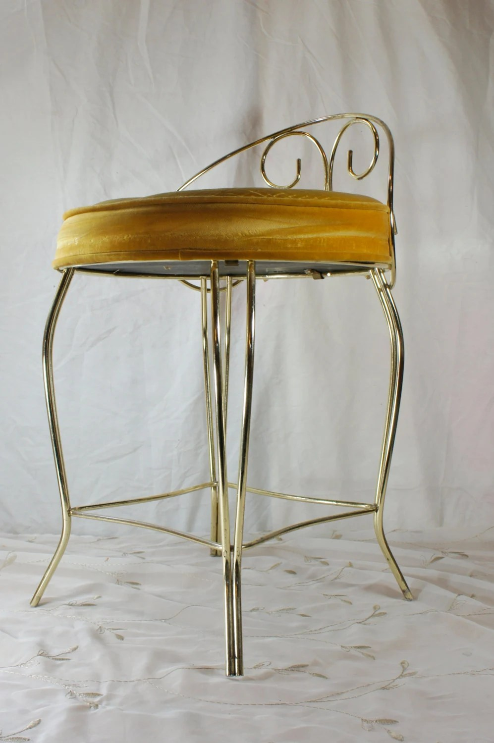 Vanity Stool Gold With Round Velvet Seat Hollywood Regency