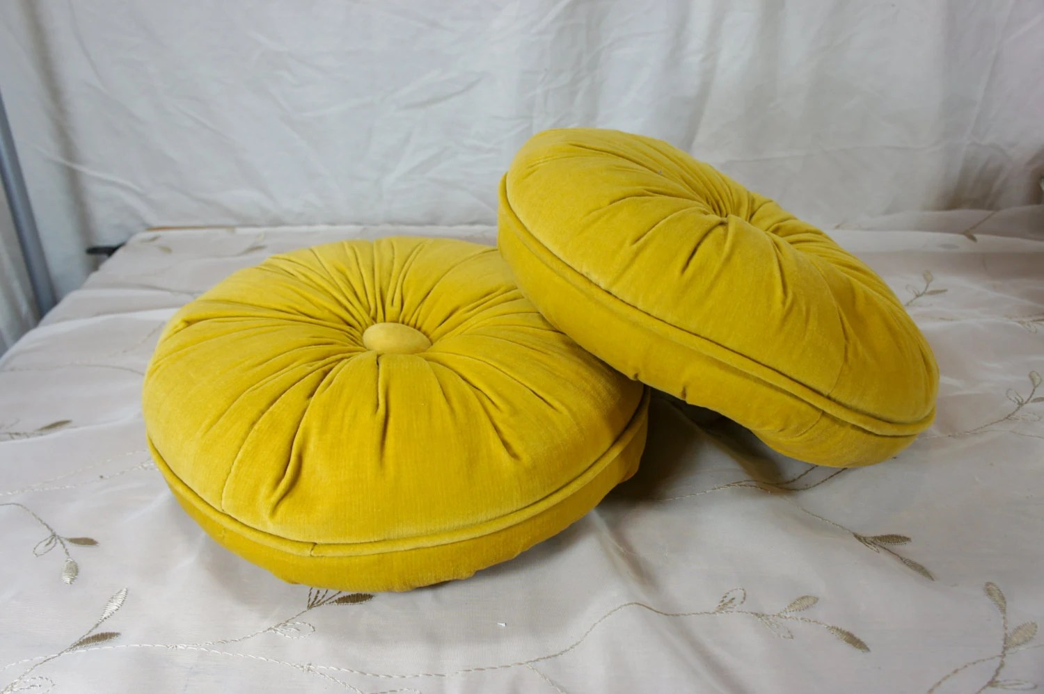 Gold Round Velvet Pillows Tufted Vintage Hollywood Regency