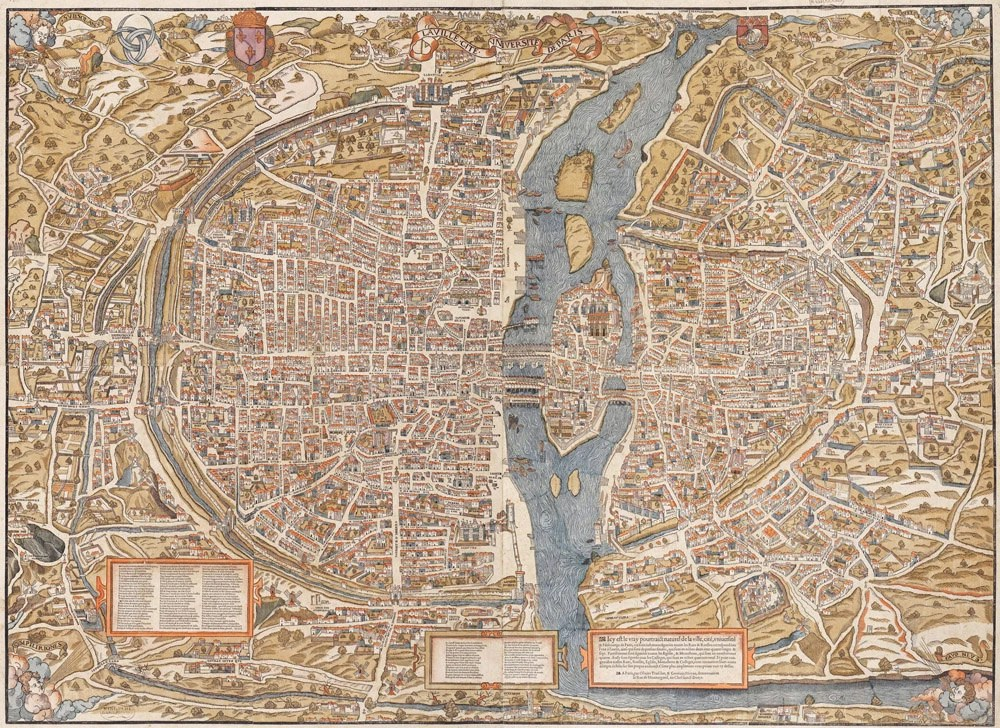 Giant Vintage historic old world map of Paris France circa 1550 Fine Art Print Giclee Poster - VintageImageryX