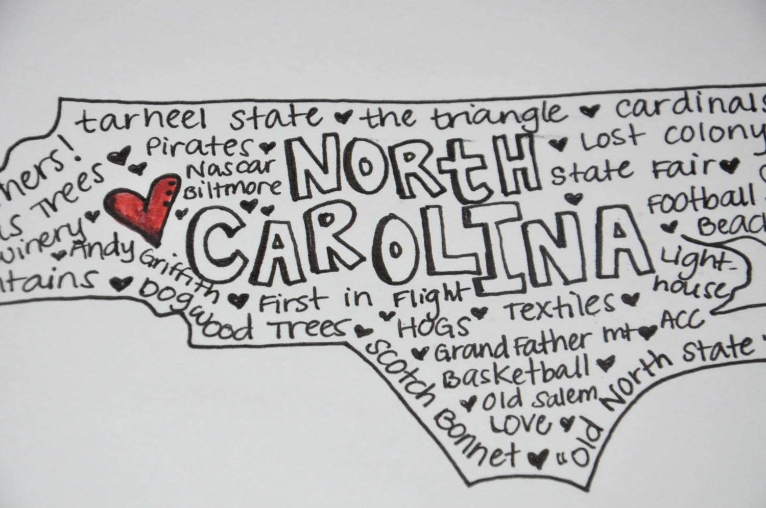 State Typographic Map Word Art North Carolina Or Any State