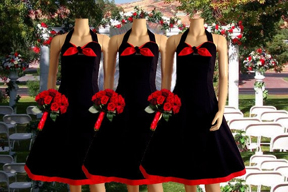 Items Similar To Black And Red Rockabilly Bridesmaid Dress