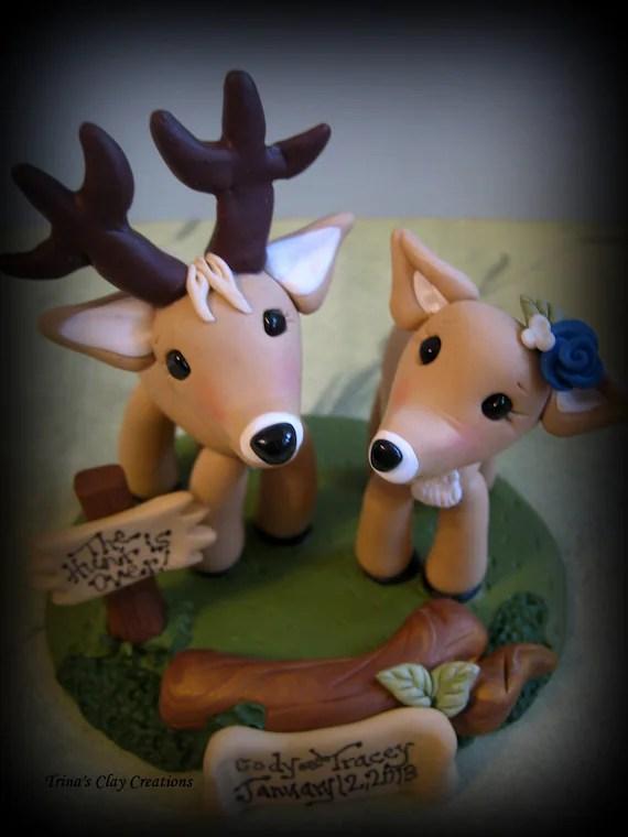 Wedding Cake Topper Custom Cake Topper Buck And Doe Cake