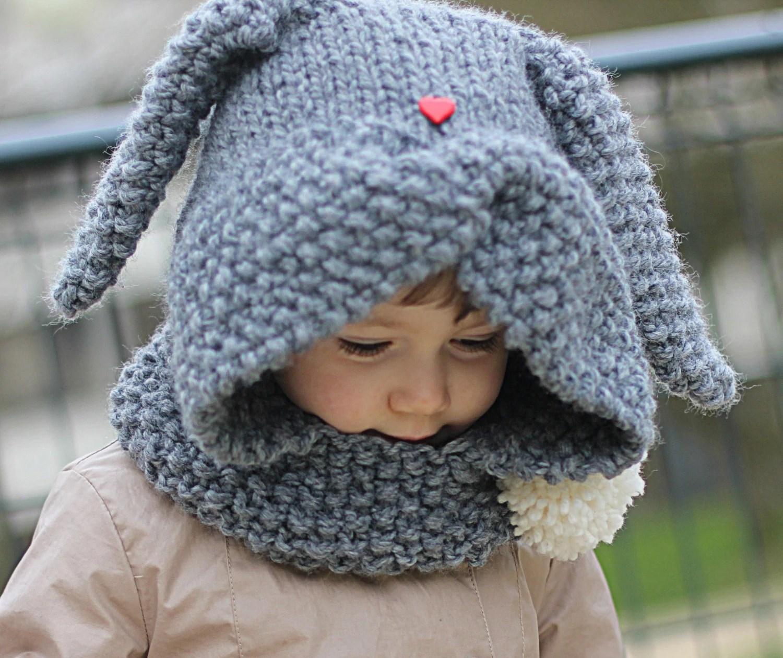 Rabbit Hood Knitting Pattern Zaika Toddler Child Sizes