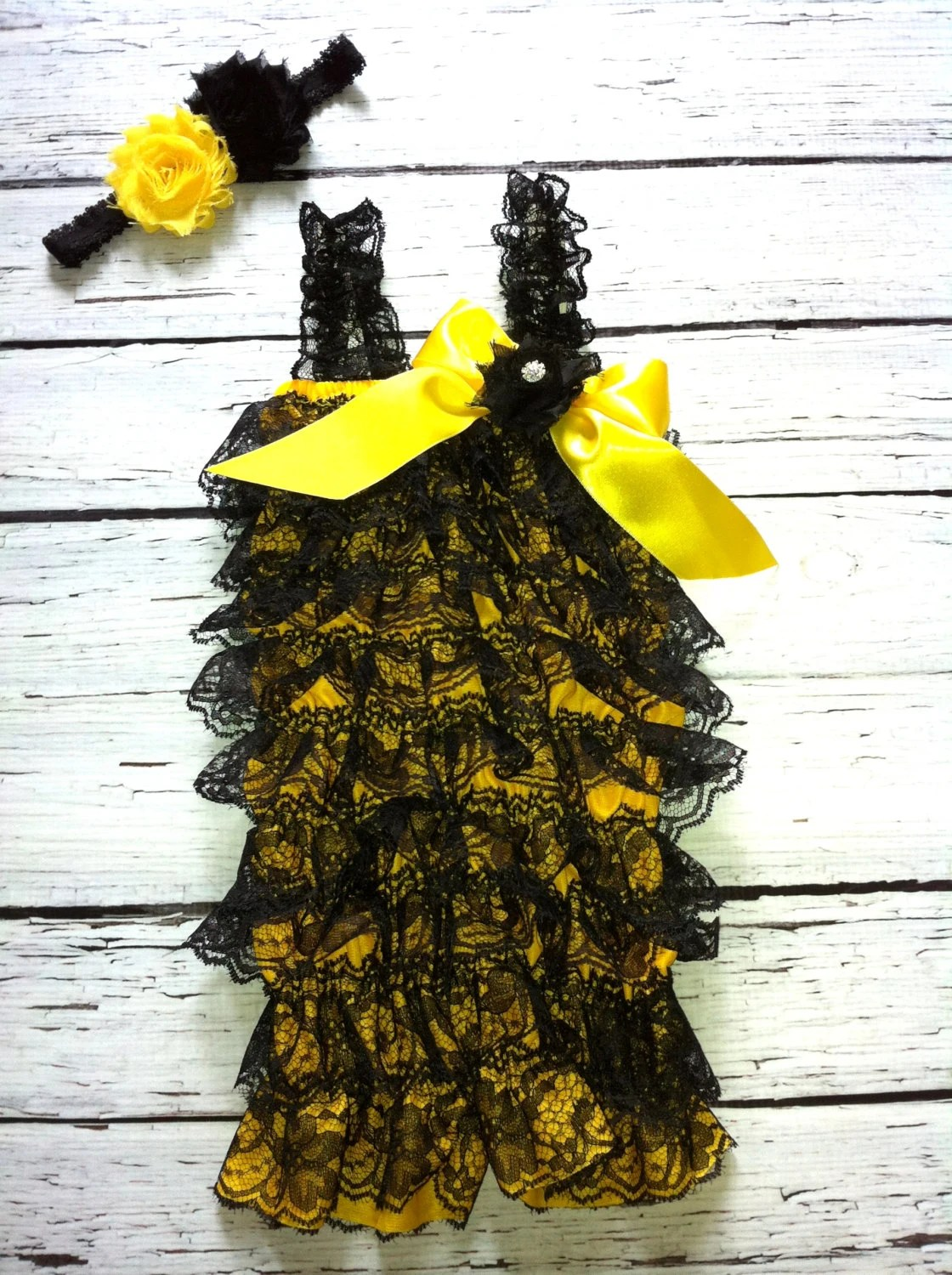 SPECIAL- Petti Lace Romper in Yellow and Black, Bumble bee, matching headband, shabby flowers, baby headband, toddler, photo prop - GigglesandWigglesBtq