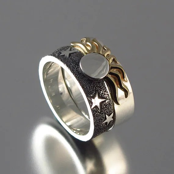 Solar Eclipse Sun And Moon Engagement Ring And By Wingedlion