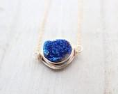 Druzy Bezel Necklace, Cobalt Blue Gemstone Pendant, 14K Gold Filled or Sterling Silver, Minimalist - SaressaDesigns