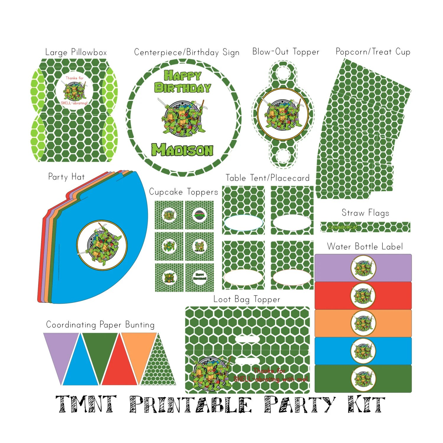 Personalized Tmnt Printable Mega Party Kit By Danilykewoah On Etsy