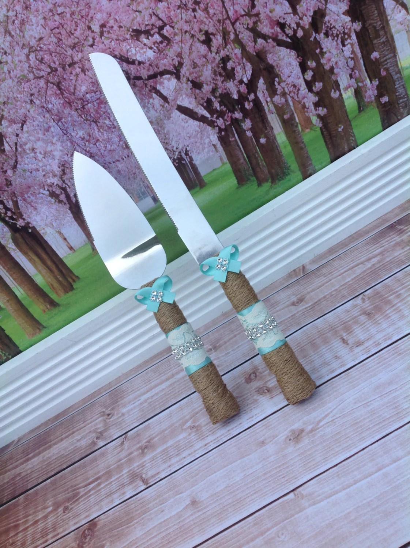 Wedding Cake Knife Set Burlap Knife Set Cake Cutting Set