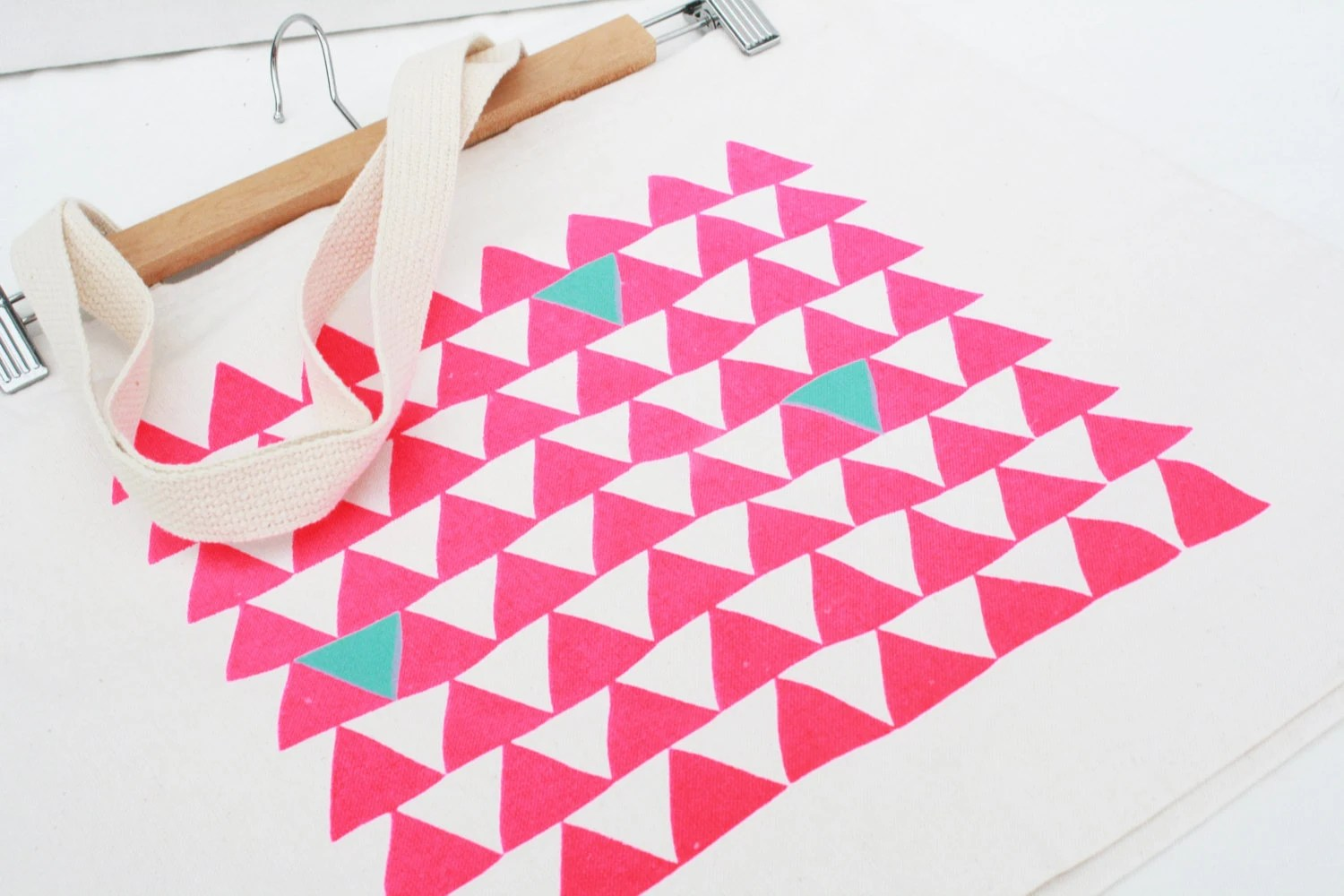 Mountains of Montana  - hot pink and blue triangle screenprint, recycled grocery, shopping, everyday tote