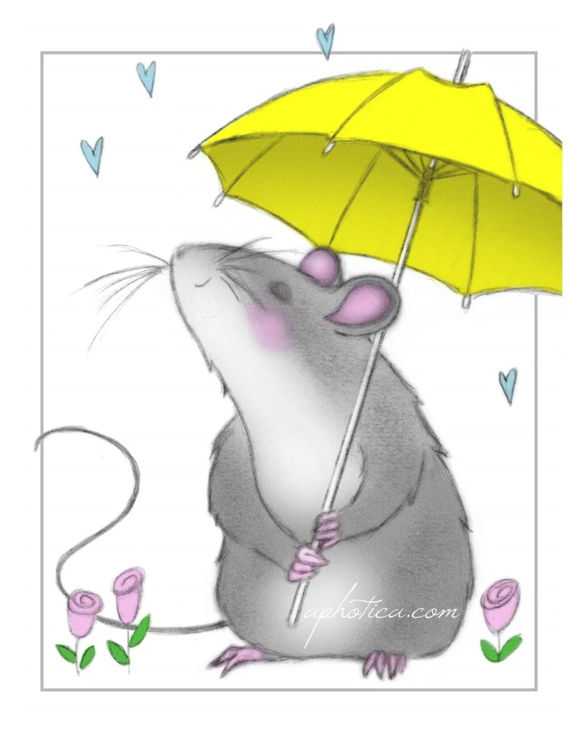 notecard- mouse with yellow umbrella from original artwork - aphotica