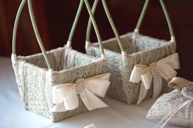 Flower Girl Basket Wedding Basket RusticShabby Chic