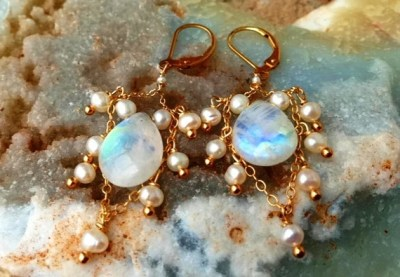 Rainbow moonstone waterfall earrings