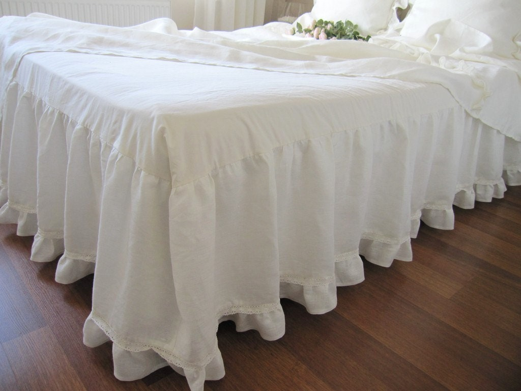 Off White Ivory Linen Dust Ruffle Bedskirt Base Coverlet Box