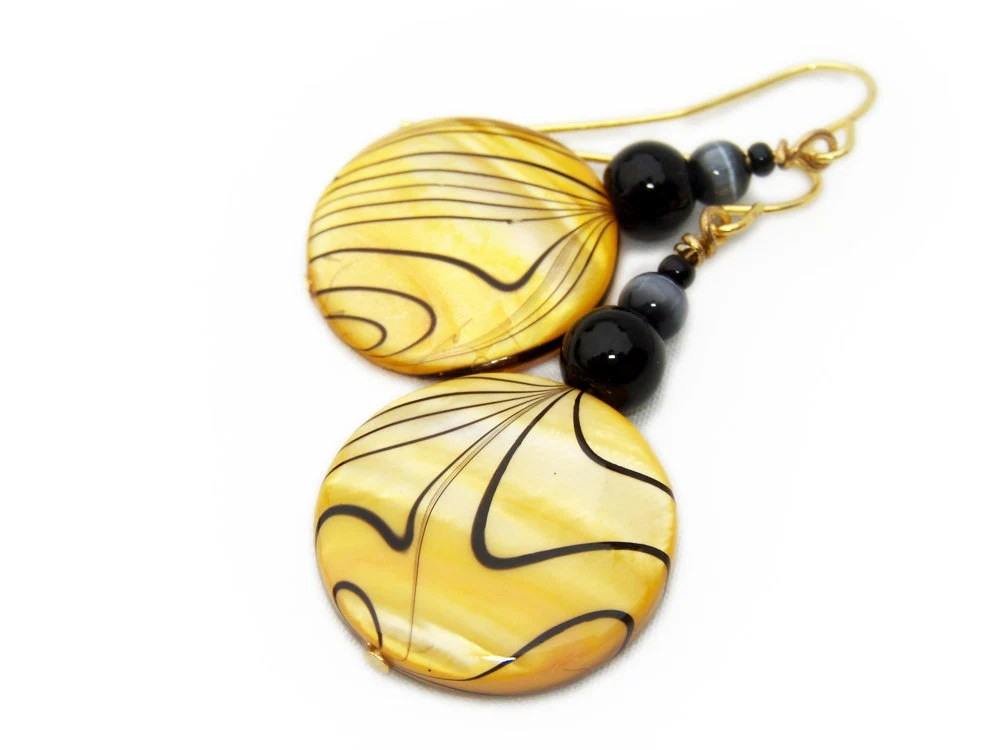 Busy Bee - Yellow and Black Shell earrings - VeritasCrafts