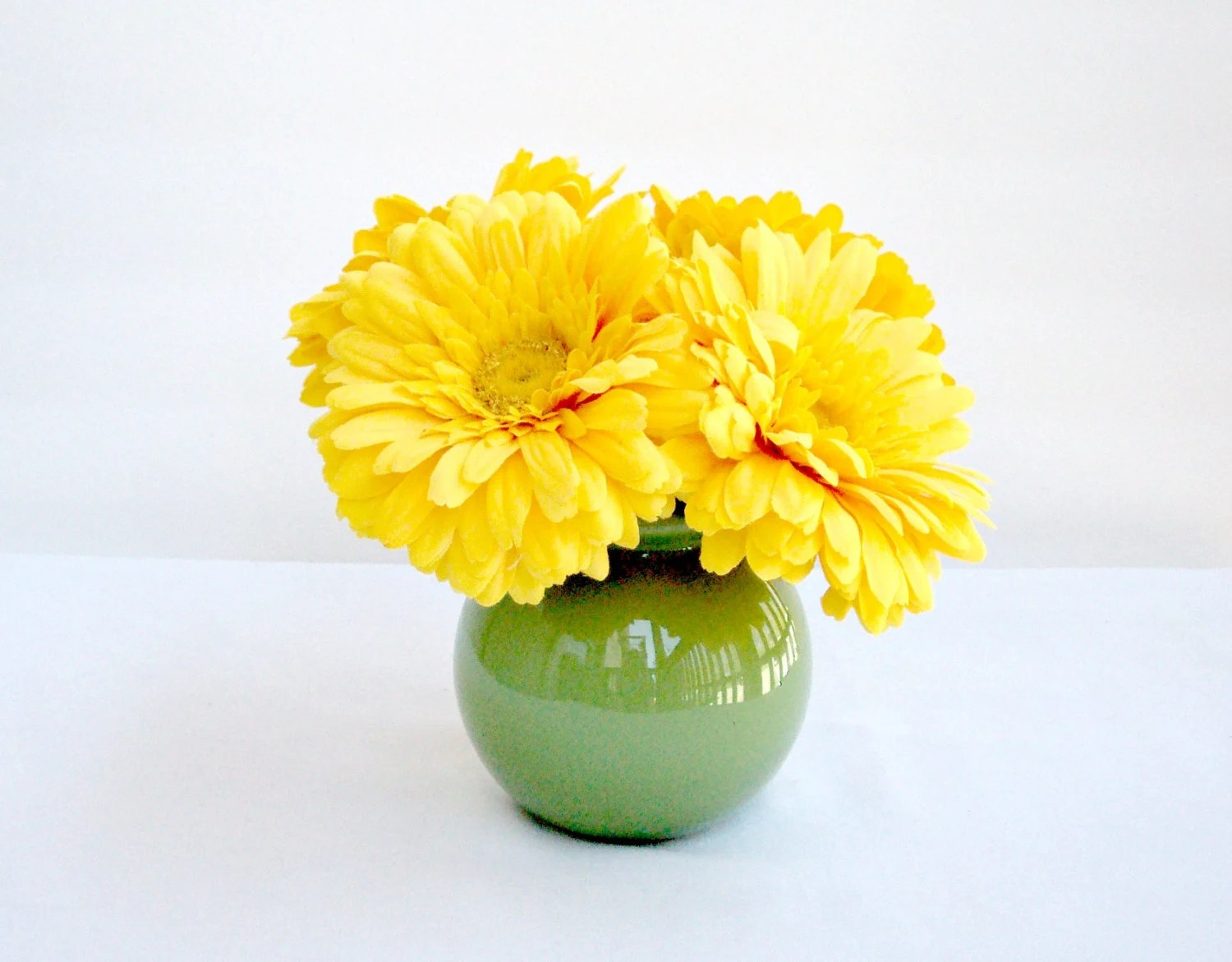 Bright Yellow Daisies Arrangement In An Apple Green Bowl Vase - IllusionCreations
