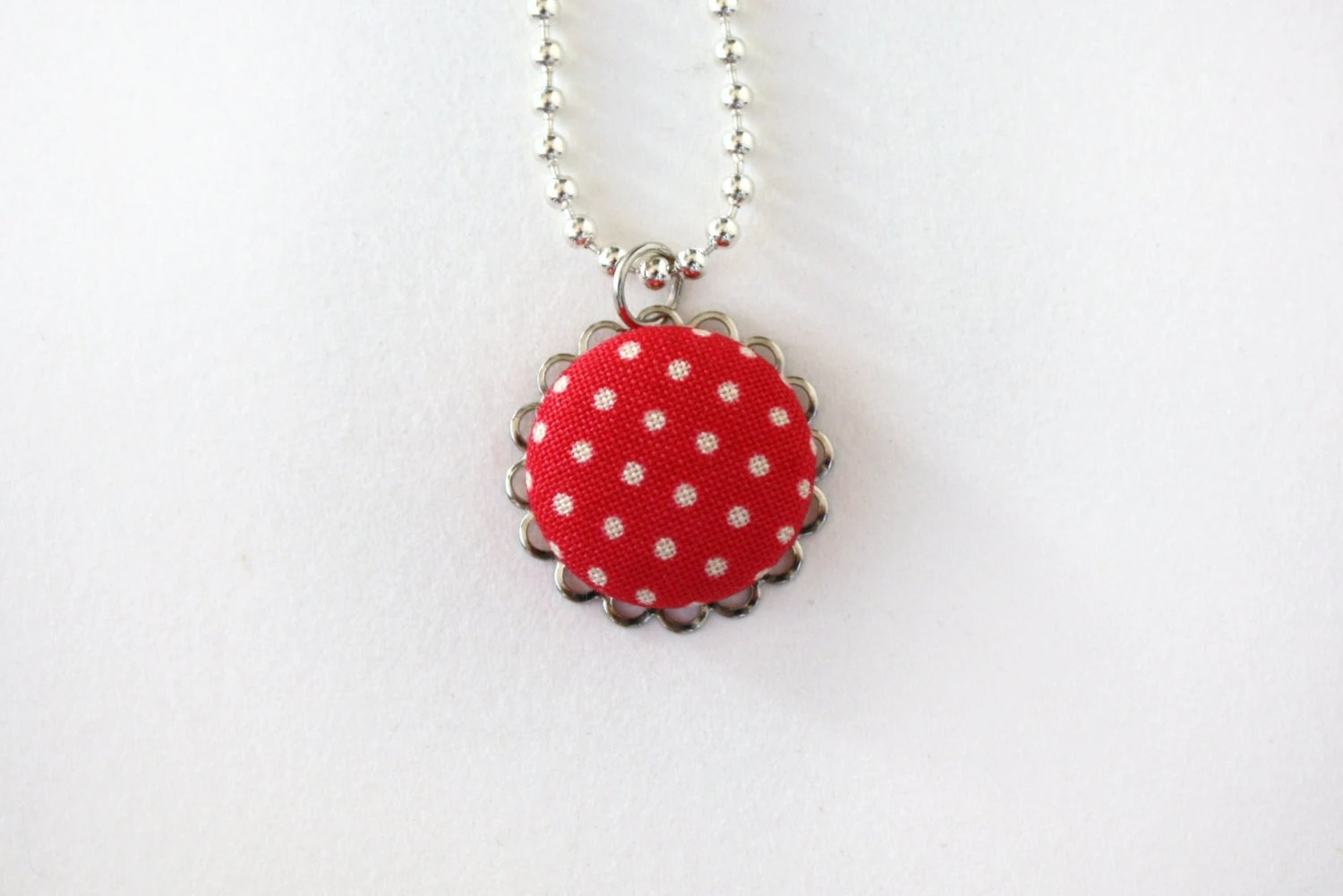 Necklace, Coral Red Polka Dot , Scallop, Jewelry,  Pendant, Ball Chain, Fabric, Spring - AppleWhite