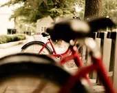 Red bike photo, bicycle art for bike enthusiasts, urban decor, red and black, spring summer decor, bike seat, bike wheel, bike parts - NancyFalsoPhotos