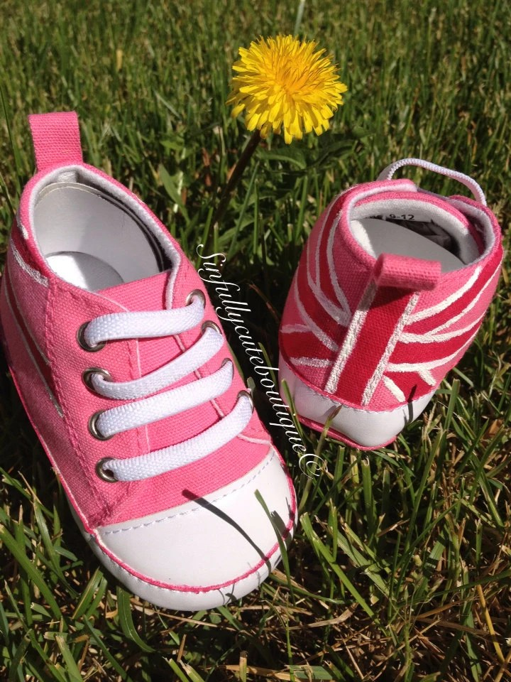 Union Jack Pink British Flag Baby Sneakers Size 9M to 12M