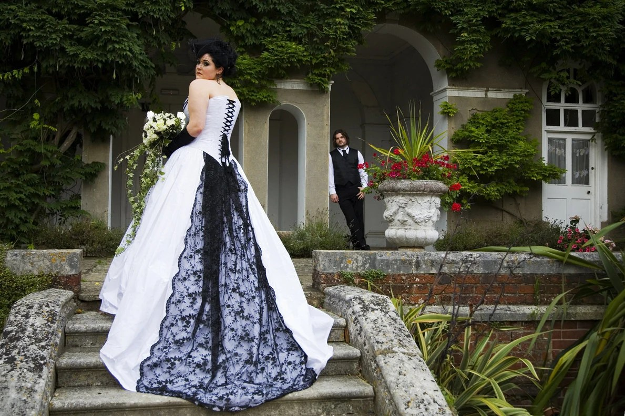 Items Similar To Black And White Alternative Wedding Dress