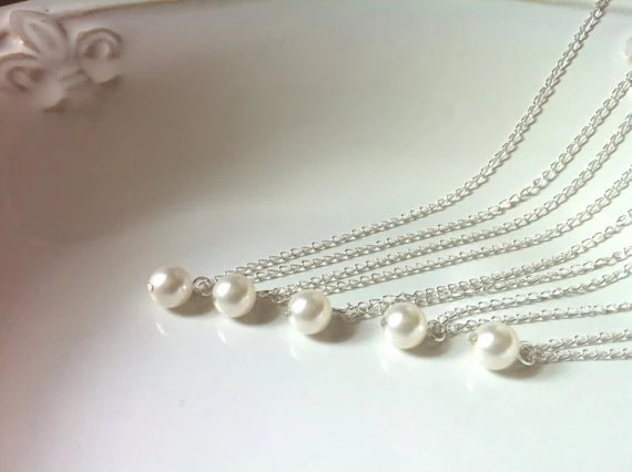 Set of 5 Bridesmaid Single Pearl Necklaces, 5 Pearl Necklaces, Bridesmaid Necklaces, One Pearl Necklace 0087 - AnaInspirations
