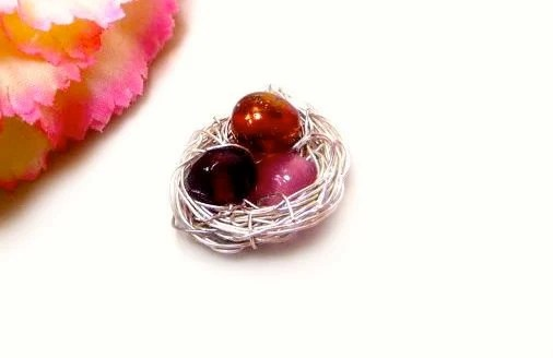 Gifts For Her: Valentine's Day Neon Garnet Red Raspberry Egg Bird Nest Necklace Pendant