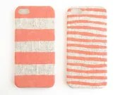 FABRIC - iPhone 5s case, iPhone 6 case, coral stripes on unbleached natural linen
