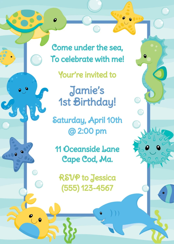 Under The Sea Birthday Invitation Boy By Anchorbluedesign