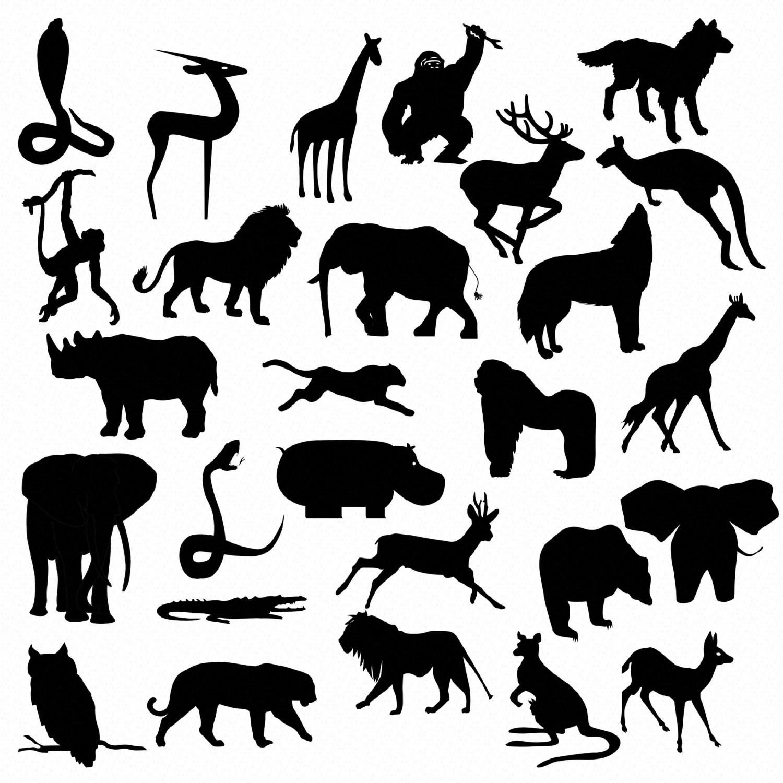 Safari Jungle Animal Silhouettes Clip Art Instant Download 27