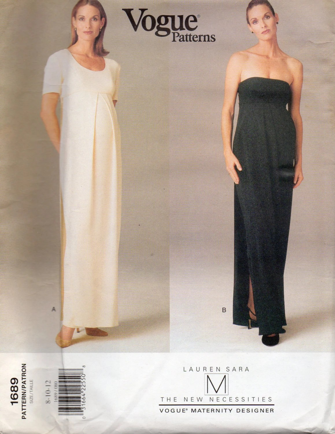 1990s Lauren Sara maternity evening dress pattern - Vogue 1689