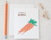 Thanks A Bunch Carrots - Thank You Card - For Charity - laLagracepaper