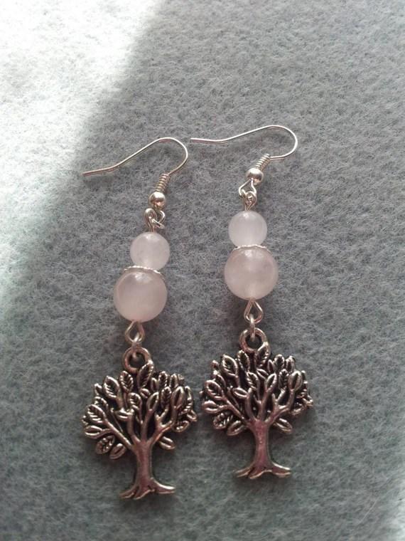 Rose quartz Tree of Life Earrings
