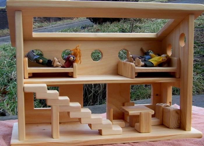 Casa de muñecas de madera estilo Waldorf