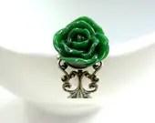 Dark Emerald Green Rose Ring - Glamour365