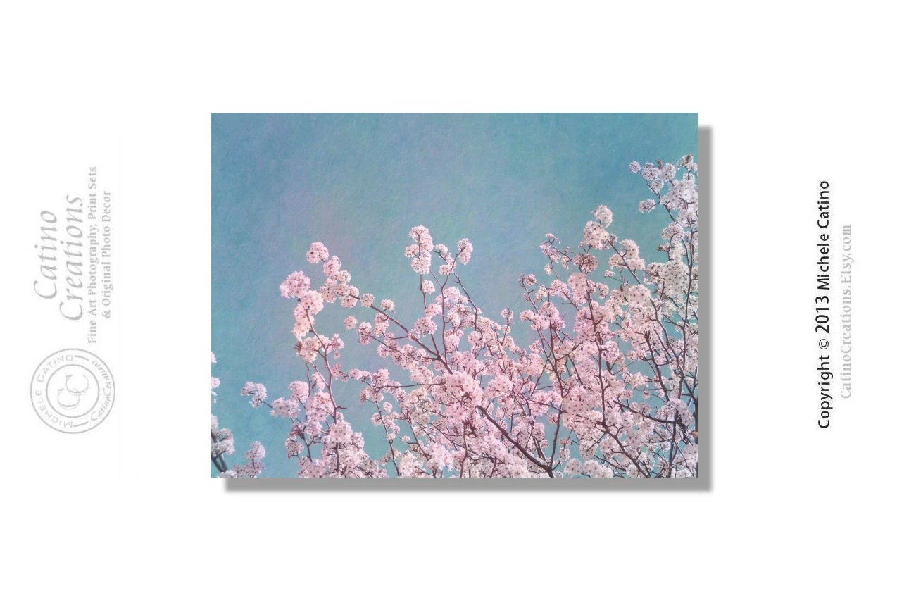 Pink Blossoms Cherry Tree Branches Pink Blooms Pink Cherry Blossoms Blue Sky. Shabby Chic Vintage Cottage Finish. Signed Photo Art - CatinoCreations