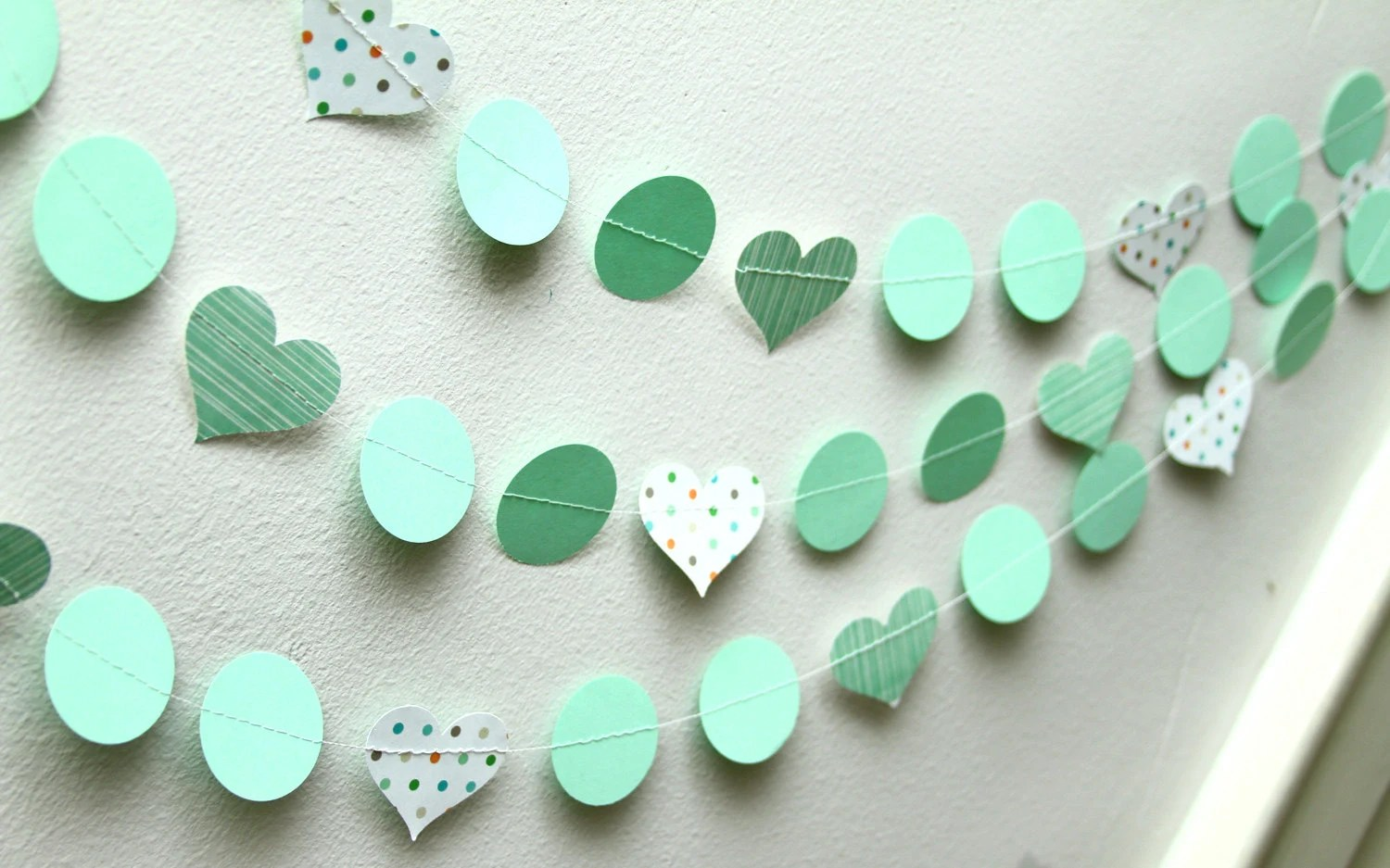 Mint Green and polka dots paper garland, birthday party, nursery, decoration - Shindiggery