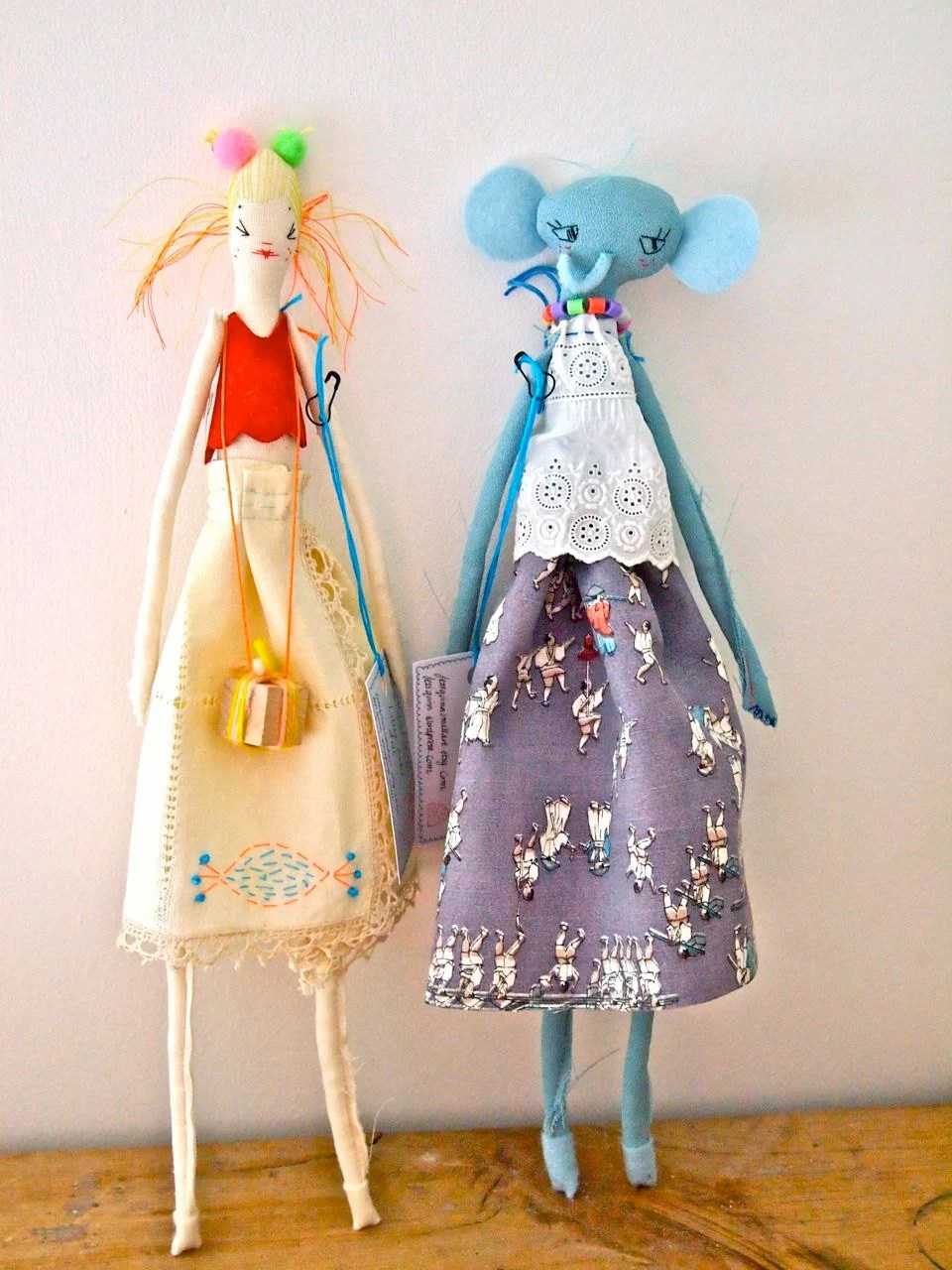 Cloth display doll, embroidered linen Little Oshi doll elephent