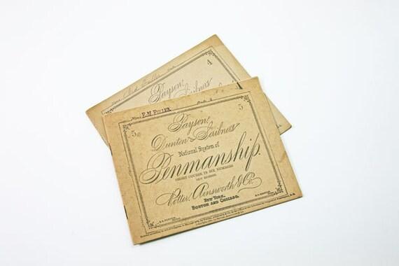 Vintage Penmanship Booklet, Victorian Calligraphy, 1876, School Book, Paper Ephemera, Antique Booklet, Set of Two