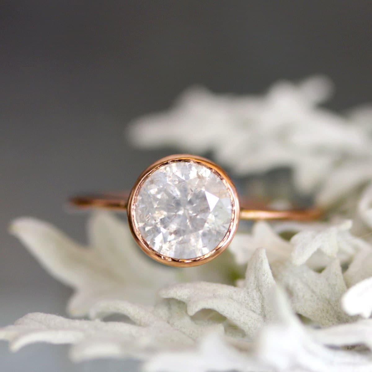 White Gray Diamond In 14k Rose Gold Engagement Ring Ready