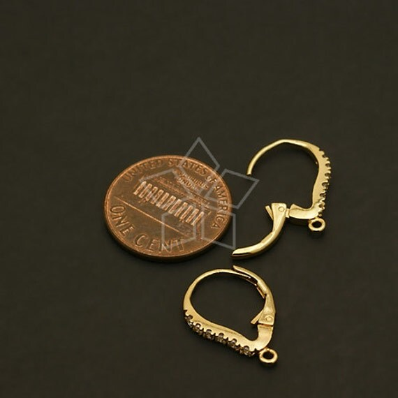 EA 107 GD 2 Pcs Cubic One Touch Dop Earring Findings Gold