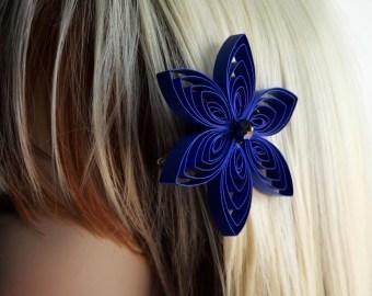 butterfly hair clip blue rose hair pin bridal head piece