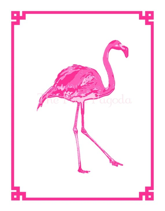 Palm Beach Chic Hot Pink Flamingo Giclee 11x14