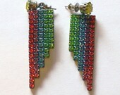 red green blue rhinestone earrings - grannyclosetjunk
