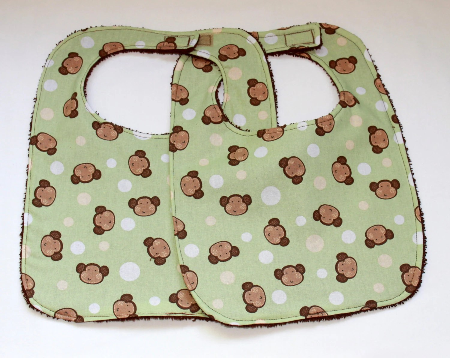 Baby/Toddler Bib Set of Two - Monkey Bib - Cotton and Terry Cloth  - Gender Neutral - Oceanlvrcrafts