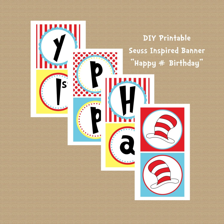 Printable Dr Seuss Birthday Banner Happy Birthday Banner
