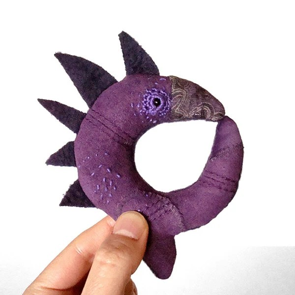 Soft Sculpture Miniature Ouroboros MIDNIGHT Spirit Creature Purple Blue Felt Upcycled Pocket Totem