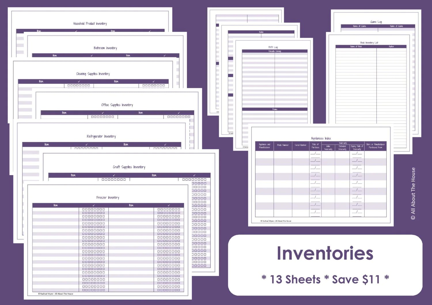 Home Inventory Printables Home Organisation Household