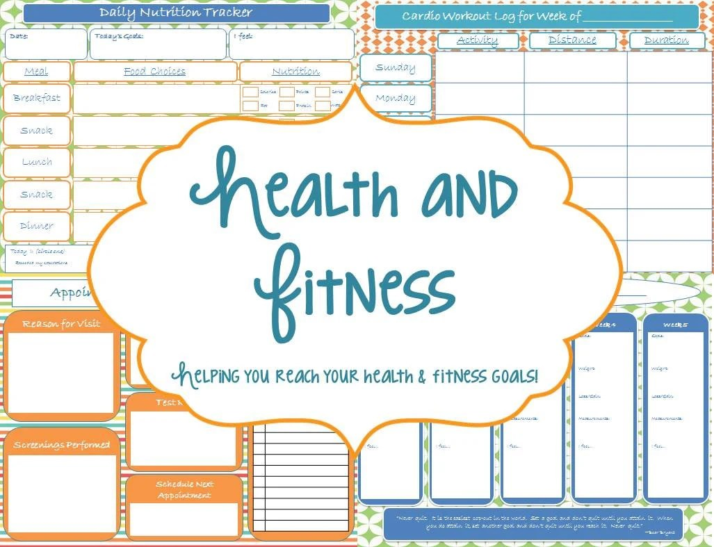 Health And Fitness Printable Planner Instant Download