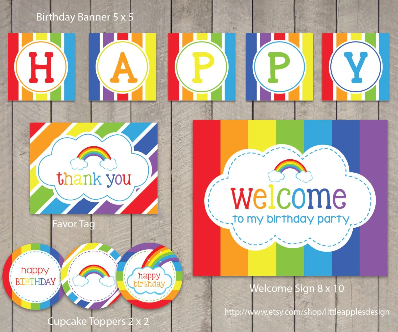 Rainbow Birthday Package Rainbow Birthday Pack Rainbow