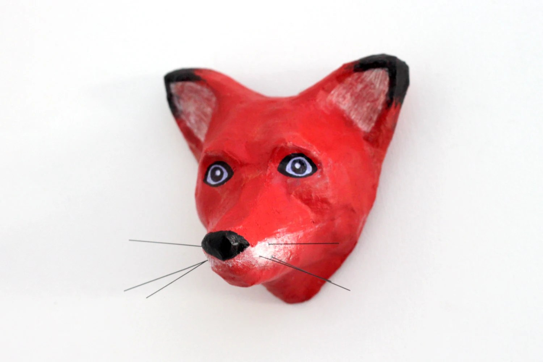 Paper Mache Fox art sculpture