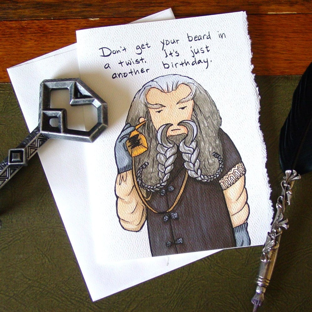Hobbit Birthday Card Oin The Dwarf Over The Hill